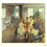 LUCIAN FREUD - Large Interior W11 (after Watteau) - Color offset lithograph