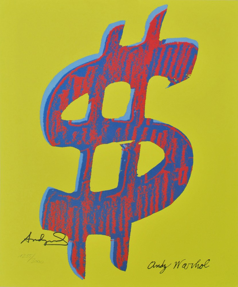 ANDY WARHOL [d'apres] - Dollar Sign $ [yellow background; red/blue symbol] - Color lithograph