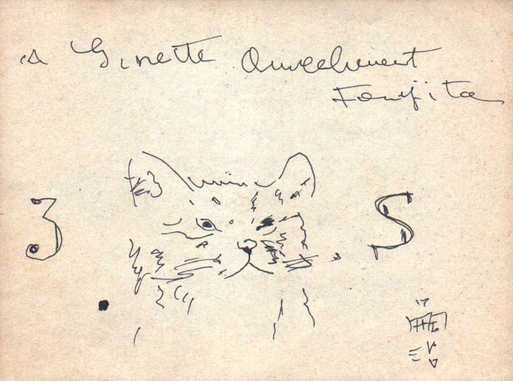 "LEONARD TSUGUHARU FOUJITA [d'apres] - Le chat ""3S"" - Ink drawing on paper"