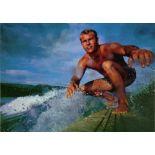 GEORGE SILK - Surfer - Original vintage color photogravure