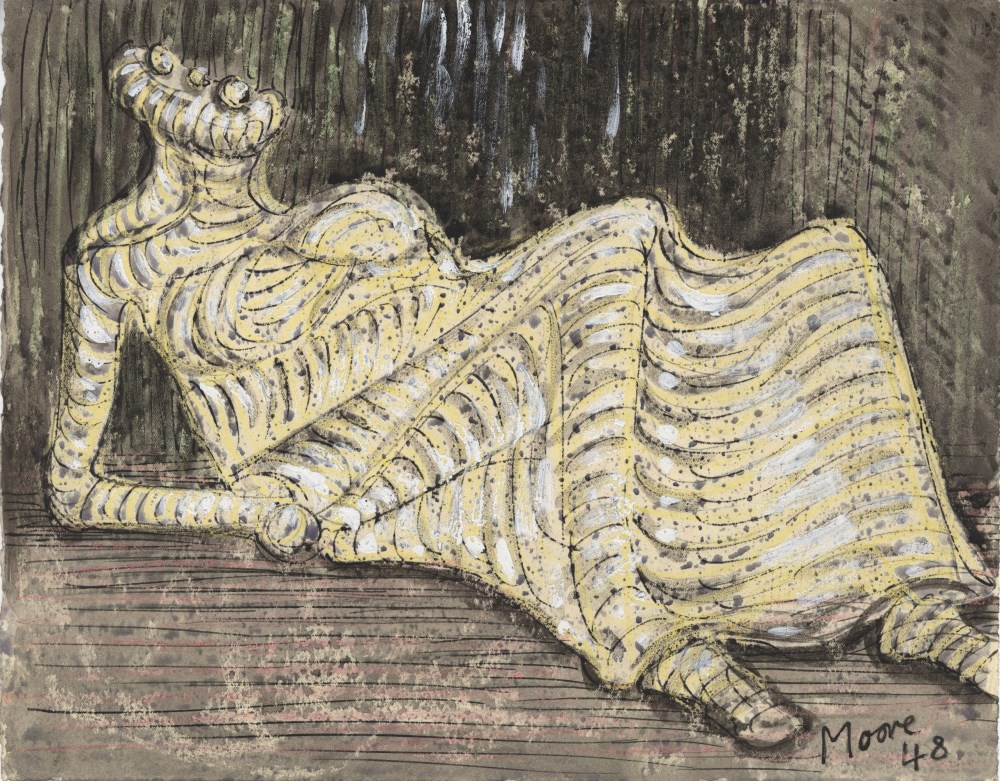 HENRY MOORE - Reclining Figure - Watercolor, wax crayon, and pen and ink on paper