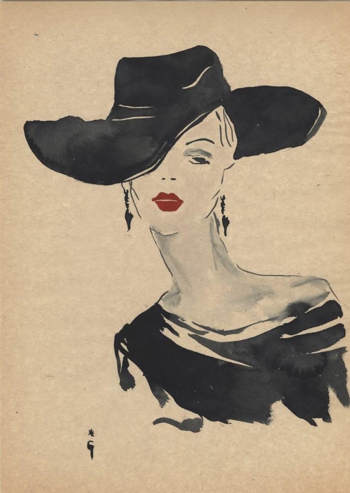 RENE GRUAU [imputee] - Signora elegante con cappello nero - Watercolor and ink on paper