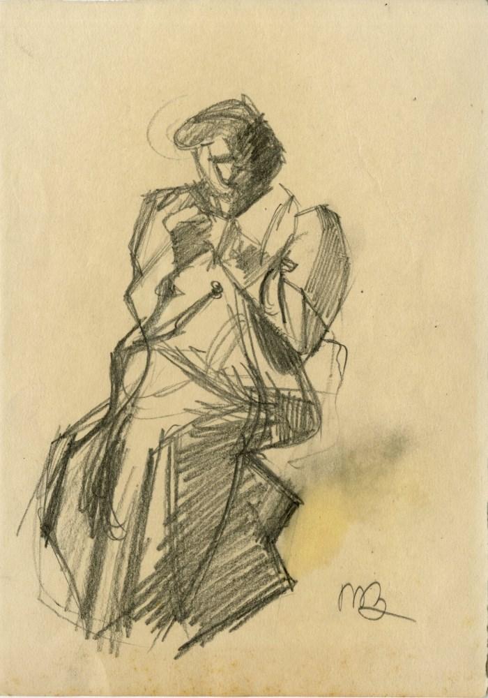 UMBERTO BOCCIONI [imputee] - Ispezione - Original charcoal drawing