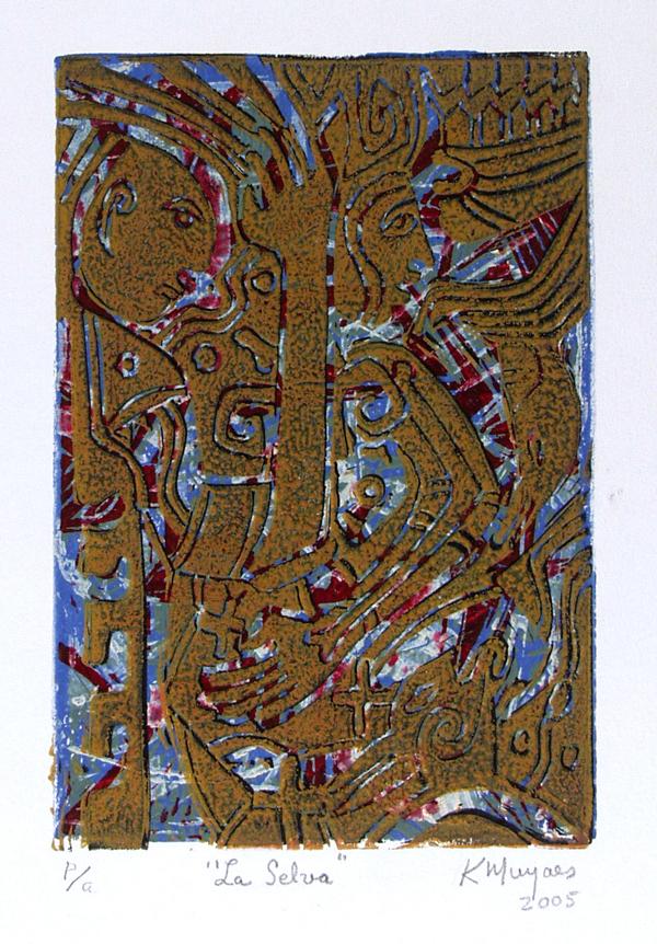 KARIMA MUYAES - La Selva - Color linocut