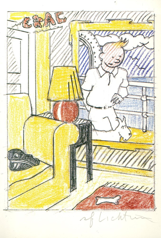ROY LICHTENSTEIN - Interior with Painting of Tintin (Tintin in the New World) - Color offset lith...