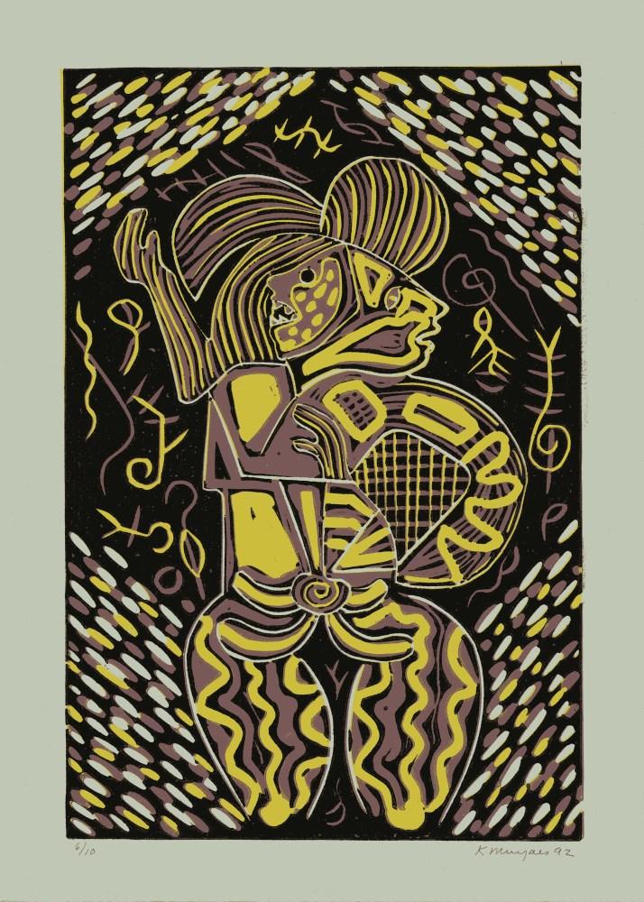 KARIMA MUYAES - Mujer con Mascara - Color linoleum cut