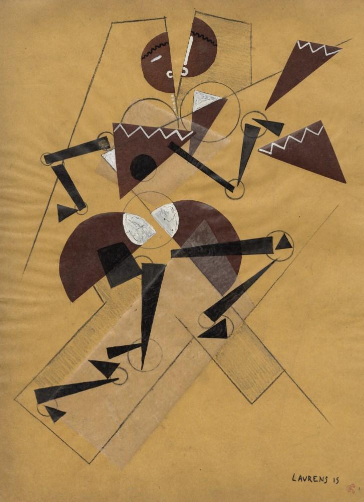 HENRI LAURENS - Figure cubiste dansante - Papier colle (collage), gouache, and crayon drawing on ...