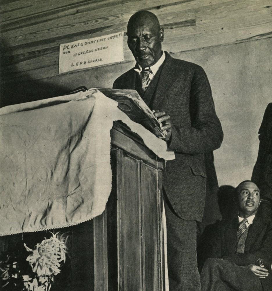 MARGARET BOURKE-WHITE - Sunday Sermon, College Grove, Tennessee - Original vintage photogravure