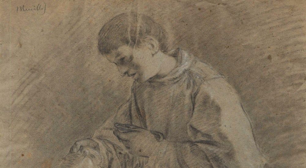 BARTOLOME ESTEBAN MURILLO - Priest with an Urn - Black and brown chalk heightened with white - Image 3 of 5