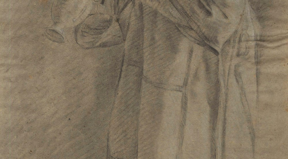 BARTOLOME ESTEBAN MURILLO - Priest with an Urn - Black and brown chalk heightened with white - Image 4 of 5