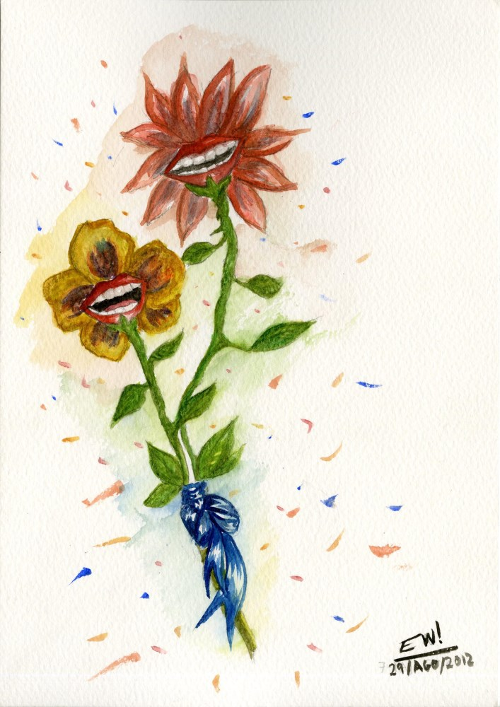 ESTELA WILLIAMS - Two Flowers - Watercolor on paper