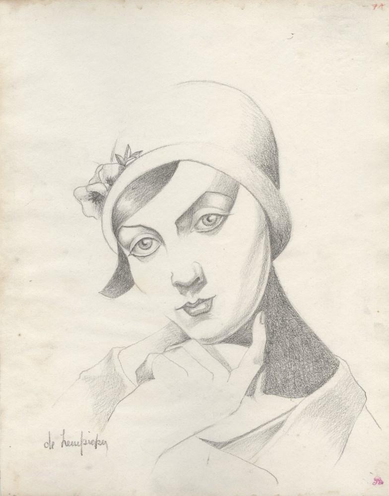 TAMARA DE LEMPICKA - Portrait de Rose Clerc au chapeau cloche - Pencil drawing on paper