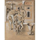 ROGER DE LA FRESNAYE - Les palefreniers - Watercolor and pen drawing on paper