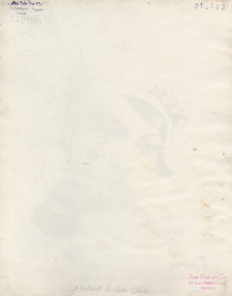 TAMARA DE LEMPICKA - Portrait de Rose Clerc au chapeau cloche - Pencil drawing on paper - Image 2 of 2