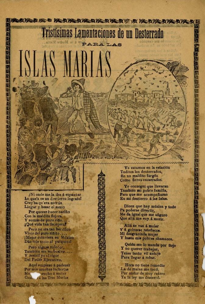 JOSE GUADALUPE POSADA - Tristisimas Lamentaciones de un Desterrado para las Islas Marias - Relief...
