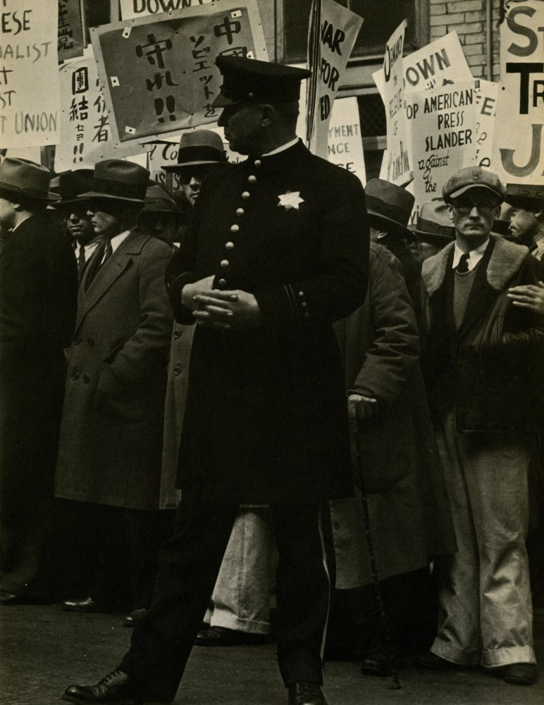 DOROTHEA LANGE - General Strike, Policeman, San Francisco - Original vintage photoengraving