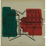 STUART DAVIS - Hotel - Gouache and pencil on paper