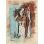 MARINO MARINI - Giocolieri e Cavallo - Gouache, watercolor, and ink drawing on paper