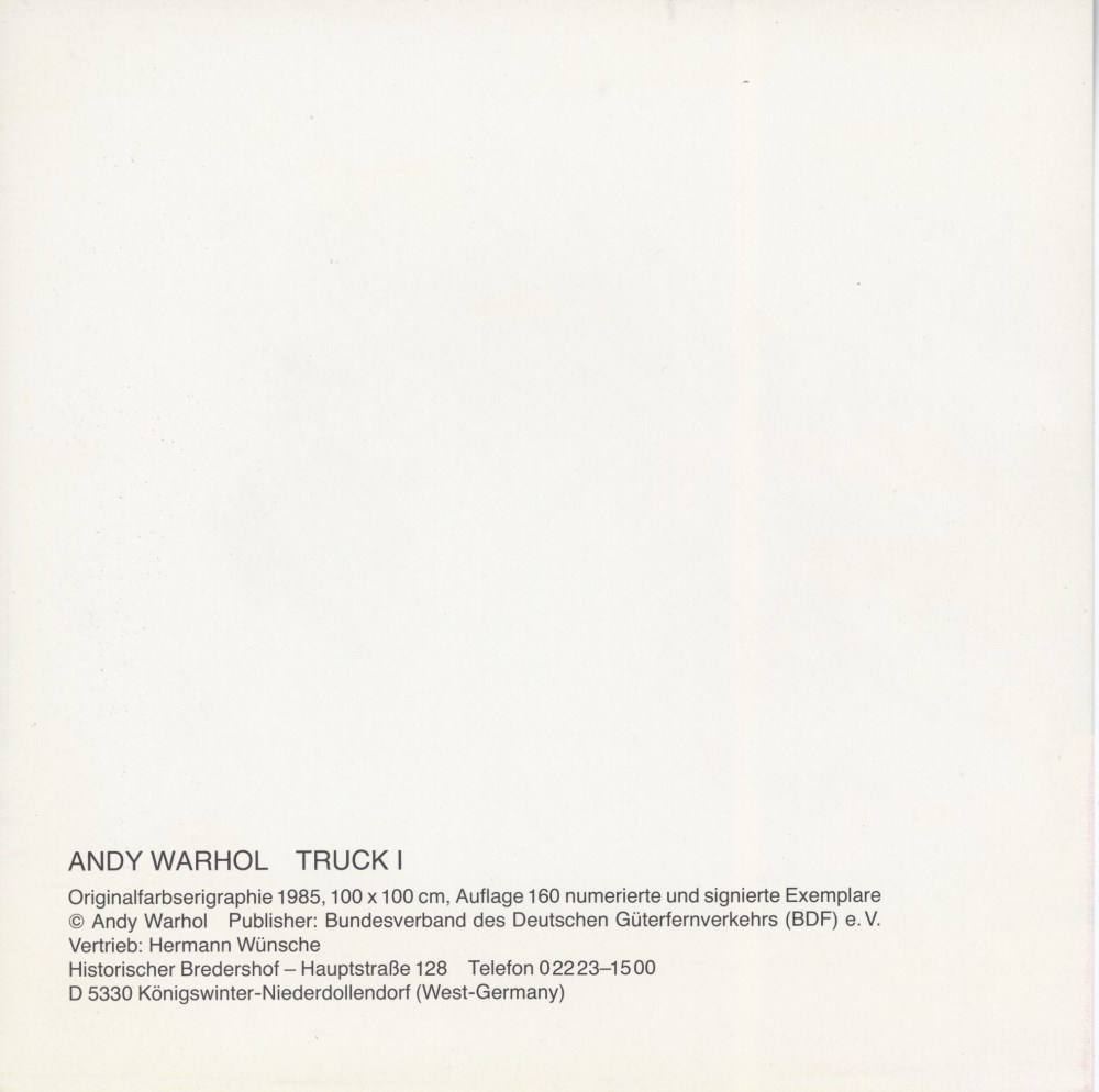 ANDY WARHOL - Trucks Suite - Color offset lithographs - Image 8 of 10
