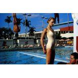 HELMUT NEWTON - Bergstrom at the University of Miami pool, Florida - Original vintage color photo...