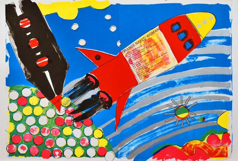 KIKI KOGELNIK [kiki o.k.] - Rocket Ship - Color lithograph