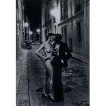 HELMUT NEWTON - Rue Aubriot, Fashion Model and Nude Kissing, Paris, 1975 - Original vintage photo...