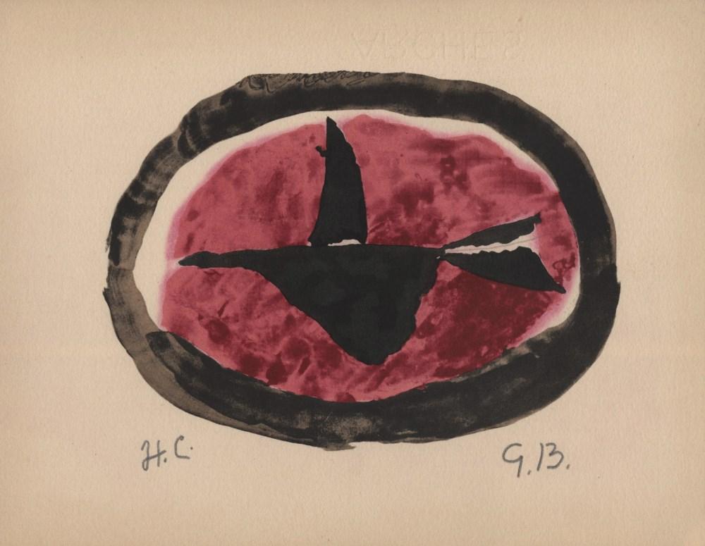 GEORGES BRAQUE - Oiseau au chouchant - Original hand-colored gouache pochoir on collotype