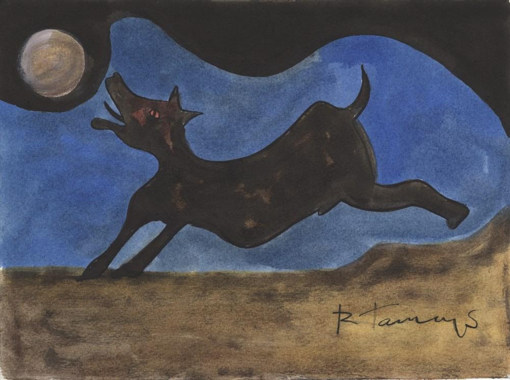 RUFINO TAMAYO - Perro ladrandole a la Luna - Watercolor and gouache drawing on paper