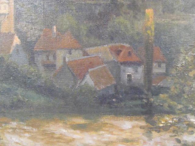 GEORGES PLASSE - Village au bord du fleuve - Oil on canvas - Image 7 of 8
