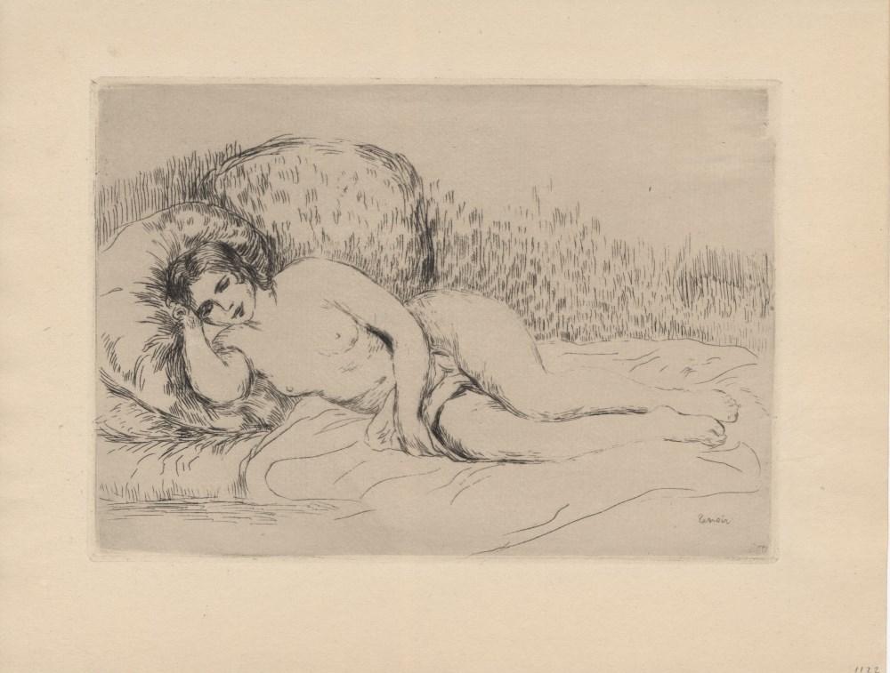 PIERRE-AUGUSTE RENOIR - Femme couchée (tournée à gauche) - Original etching