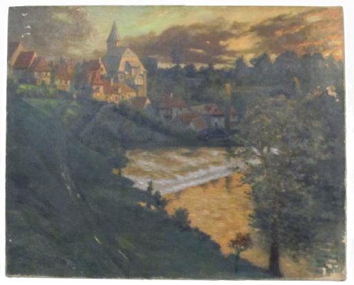 GEORGES PLASSE - Village au bord du fleuve - Oil on canvas