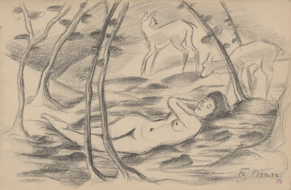 FRANZ MARC - Nackt mit zwei Hirschen in einer Landschaft - Pencil drawing on paper
