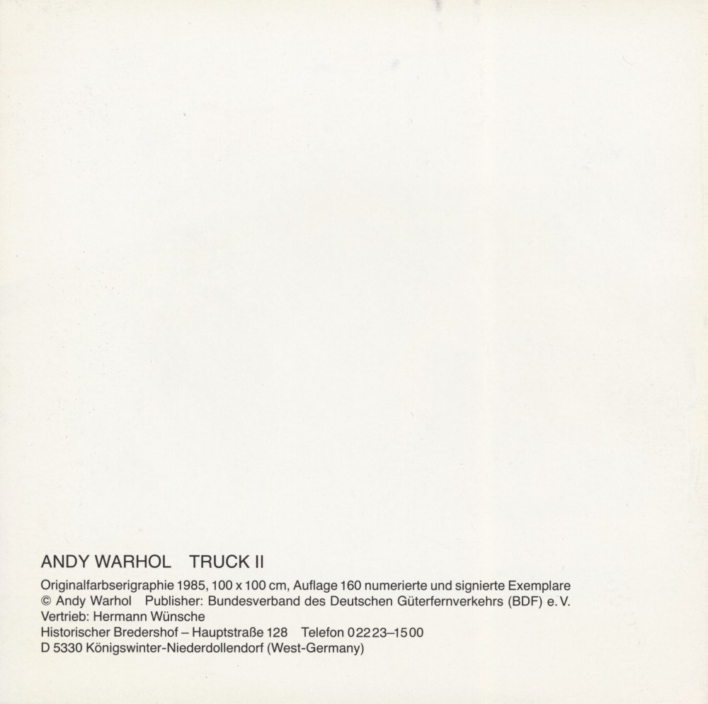 ANDY WARHOL - Trucks Suite - Color offset lithographs - Image 9 of 10