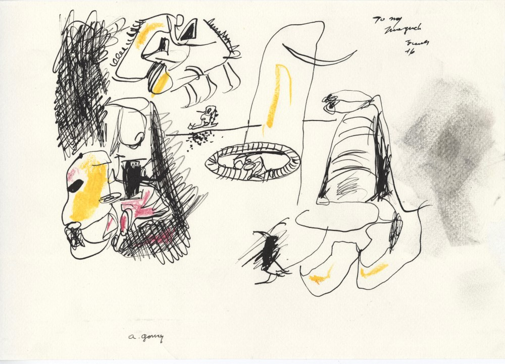 ARSHILE GORKY - Composition with Face - Crayon and ink on paper