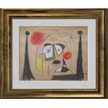 JOAN MIRO - Retrato de Salvador Dali - Gouache, crayon, pastel, and charcoal drawing on paper