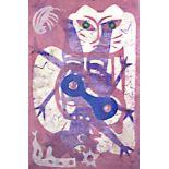 KARIMA MUYAES - Felina en Rosa - Monotype on amate paper