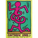 KEITH HARING - Montreux [Jazz Festival] 1983 - Blue/Green Background/Yellow Border - Original col...