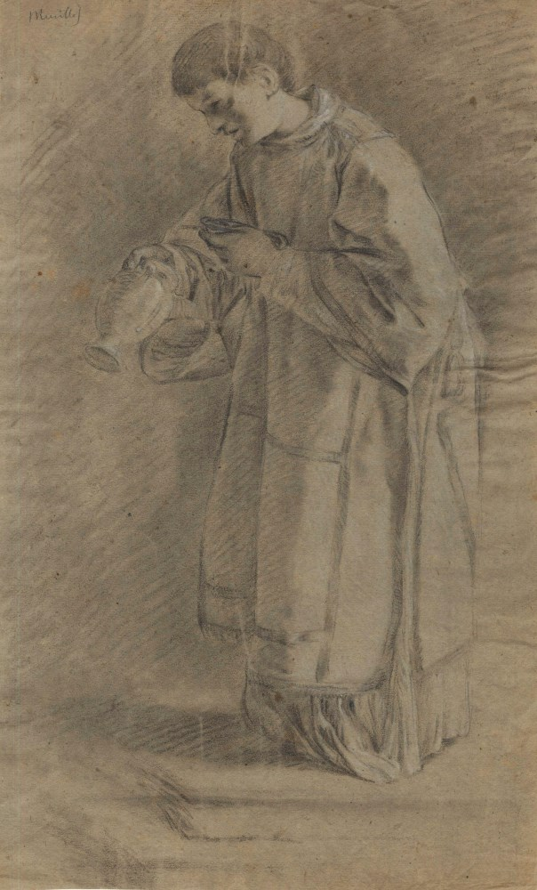 BARTOLOME ESTEBAN MURILLO - Priest with an Urn - Black and brown chalk heightened with white