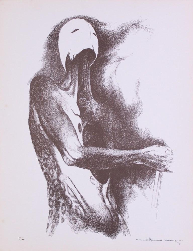 GUILLERMO MEZA - Que porque Eran Niños - Lithograph in brown ink