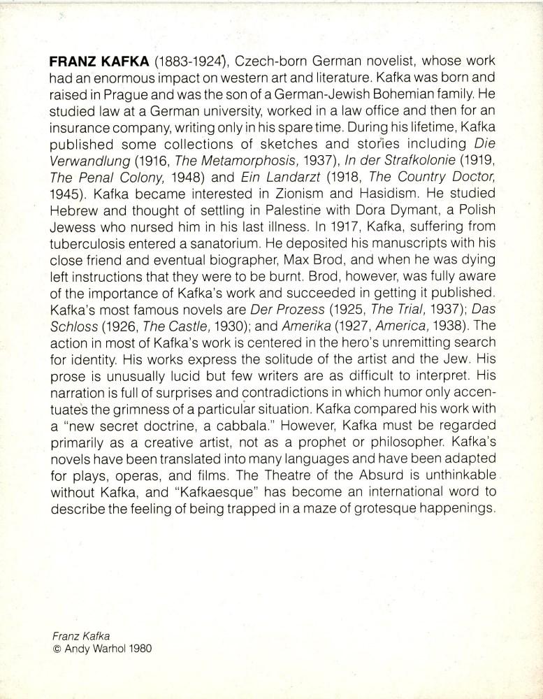 ANDY WARHOL - Franz Kafka - Color offset lithograph - Image 2 of 2