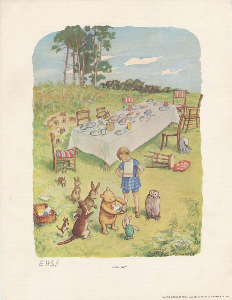 E(RNEST) H(OWARD) SHEPARD - Pooh's Party - Original color offset lithograph