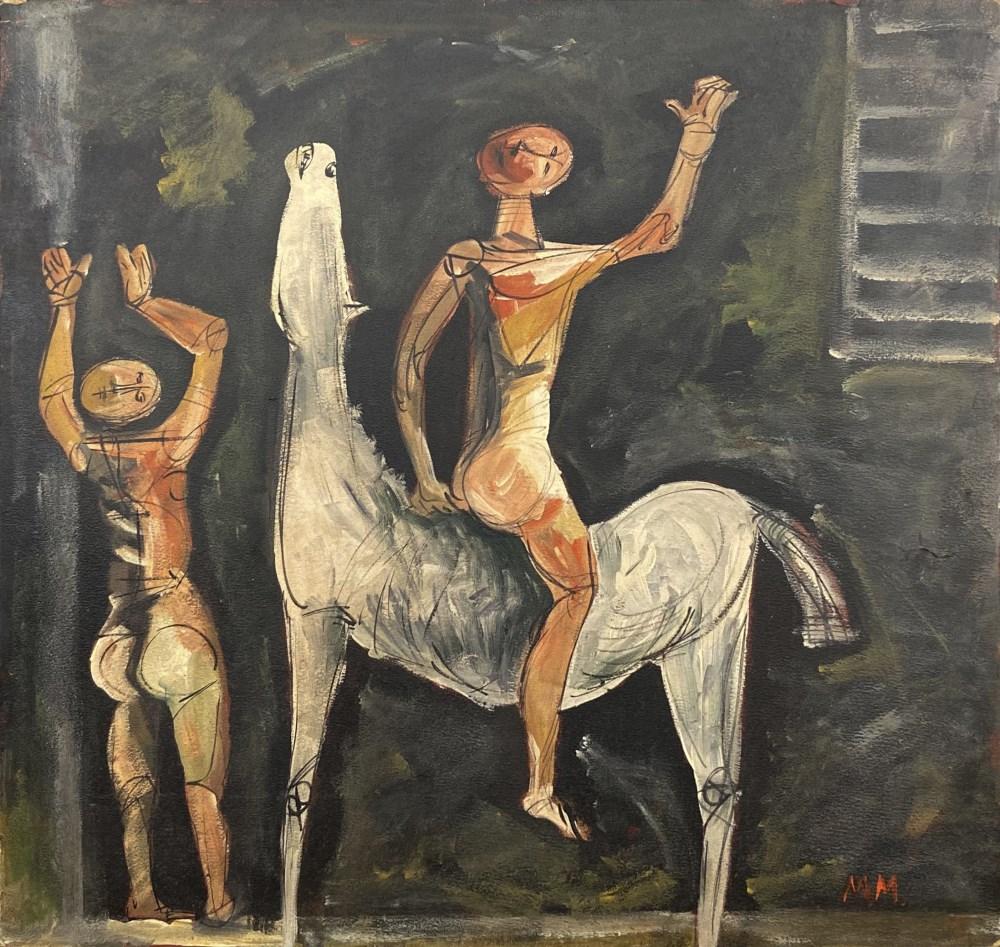 MARINO MARINI - Cavallo bianco e due uomini - Mixed media on hardboard