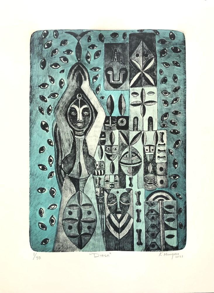 KARIMA MUYAES - Diosa - Original color lithograph