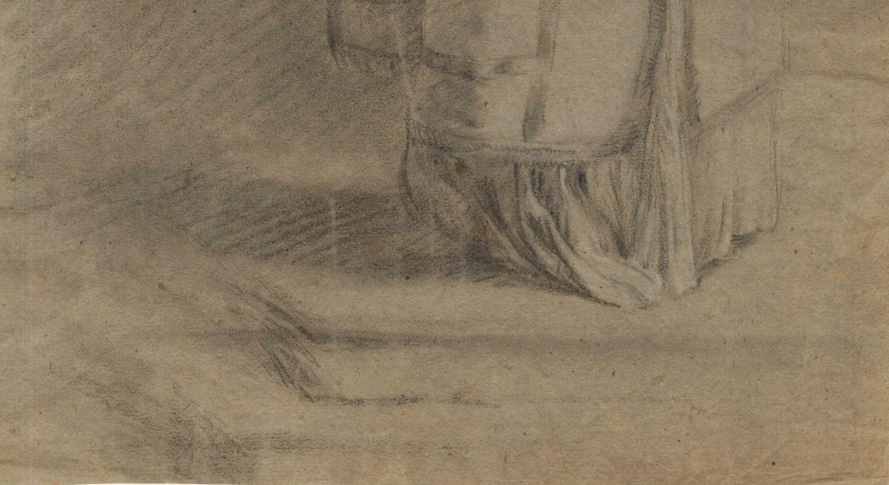 BARTOLOME ESTEBAN MURILLO - Priest with an Urn - Black and brown chalk heightened with white - Image 5 of 5