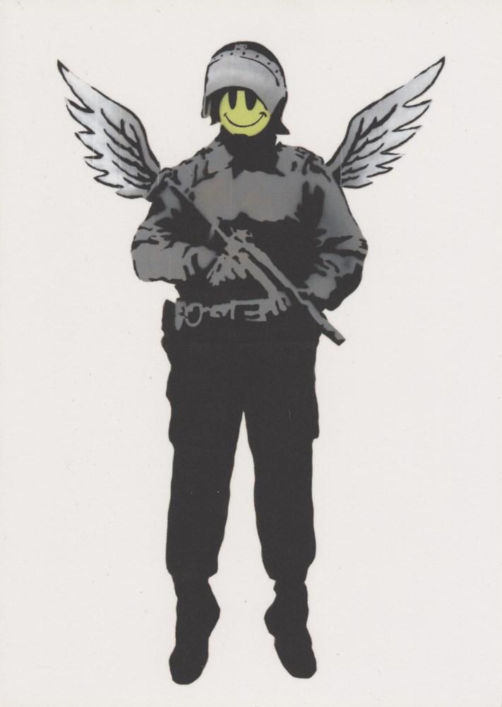 BANKSY - Flying Copper (Angel Cop) - Original color offset lithograph