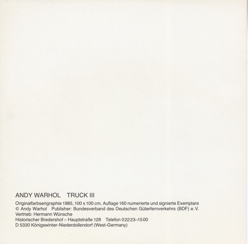 ANDY WARHOL - Trucks Suite - Color offset lithographs - Image 10 of 10