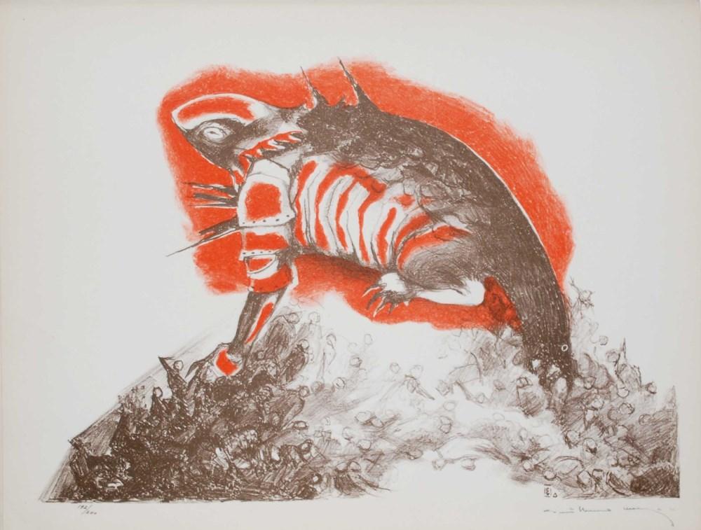 GUILLERMO MEZA - Tigre de los Pueblos - Color lithograph