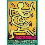 KEITH HARING - Montreux [Jazz Festival] 1983 - Orange Background/Green Border - Original color si...