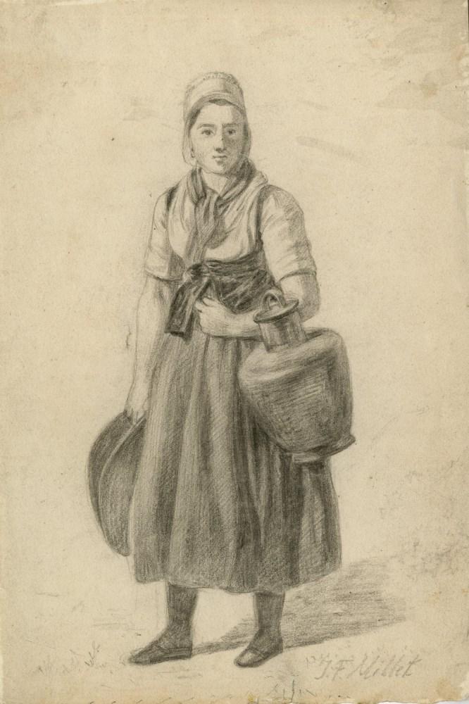 JEAN-FRANCOIS MILLET - Paysanne avec des paniers - Pencil on paper