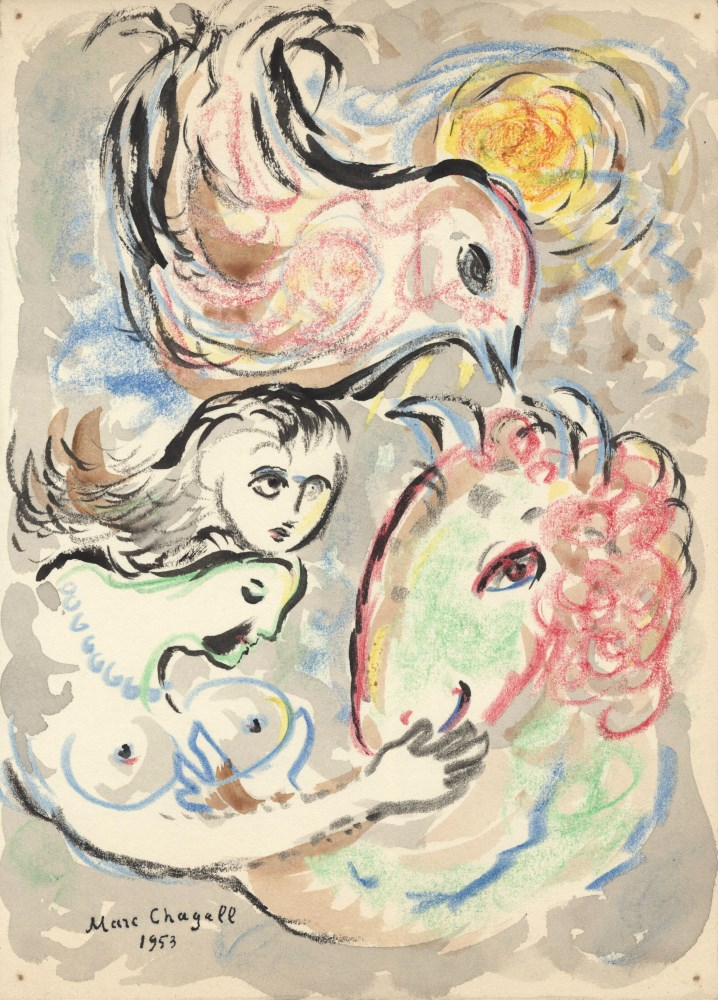 MARC CHAGALL - Les amoureux - Mixed media on paper